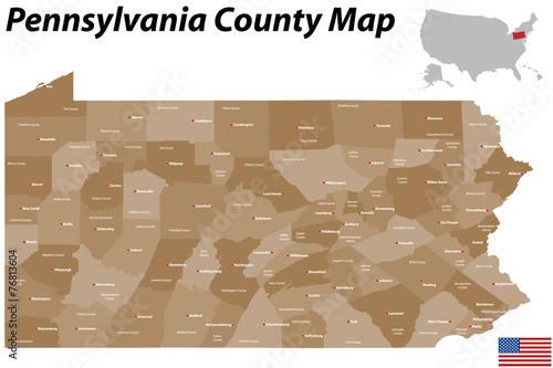 Obraz na płótnie Pennsylvania County Map