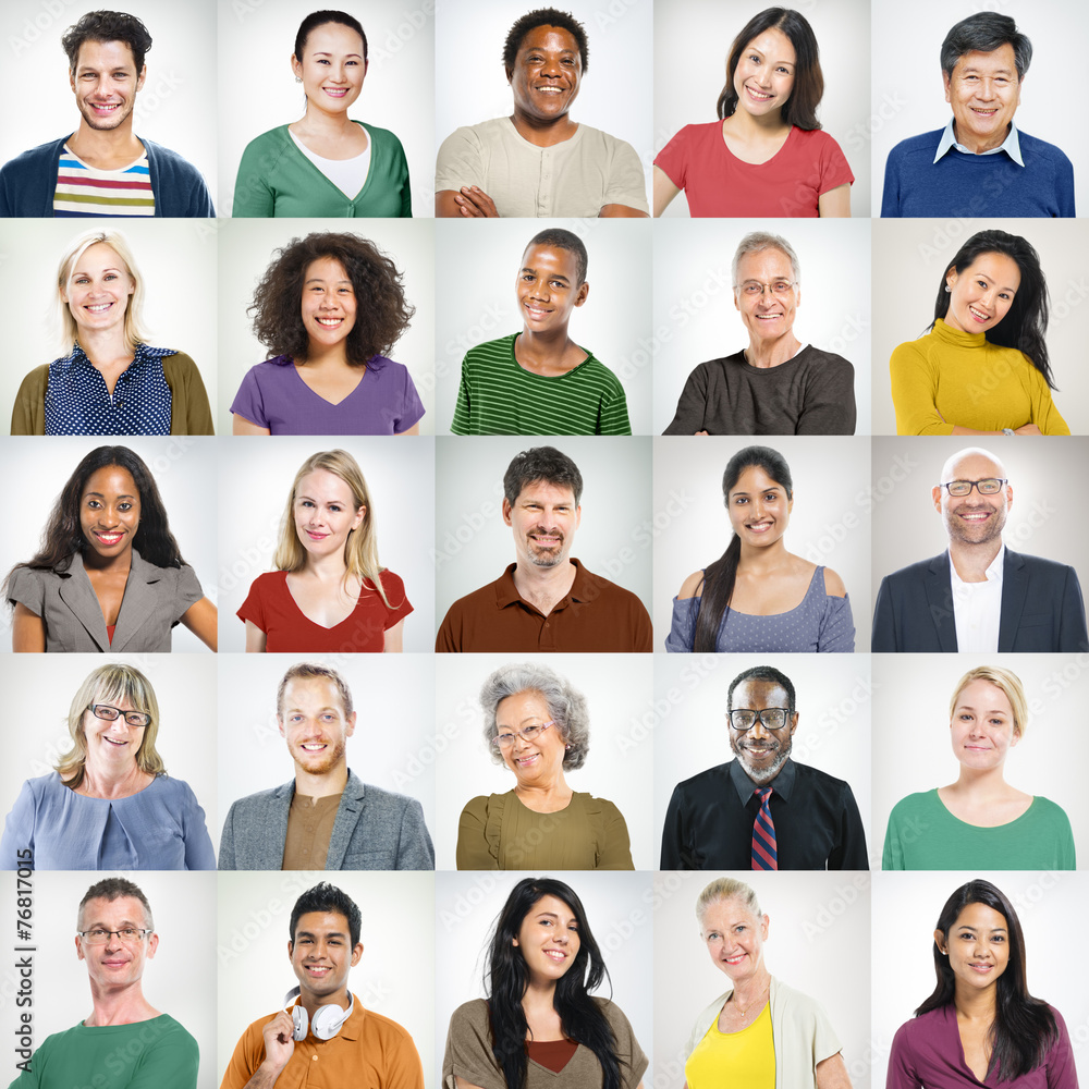 Fototapeta People Faces Portrait Multiethnic Cheerful Group Concept