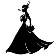 Girl Running In A Hat And Dress With Handbag, Silhouette, Retro,