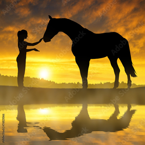 Printed kitchen splashbacks Panther Girl with a horse at sunset