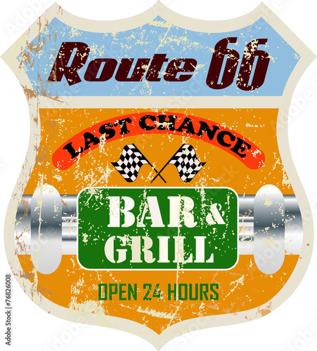 retro route sixty six bar and grill restaurant sign,vector illus