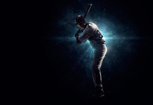 Professional Baseball Player In The Spotlight