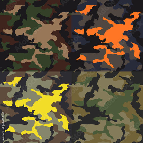 Fotografía  Set of seamless camouflage pattern