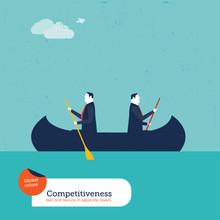 Businessmen Rowing In Opposite Directions