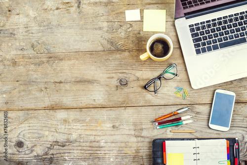 Obraz Desktop mix on a wooden office table. - fototapety do salonu