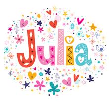Julia Female Name Decorative Lettering Type Design