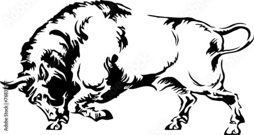 Vector illustration of buffalo silhouette on a white background Tapéta, Fotótapéta