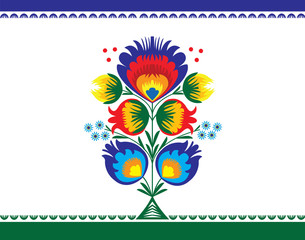 wzór ludowy z kwiatami, łowicki