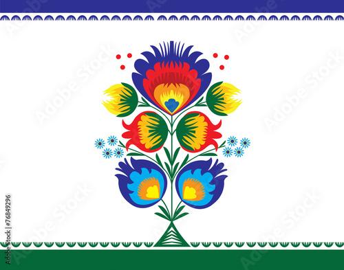 Obraz wzór ludowy z kwiatami, łowicki - fototapety do salonu