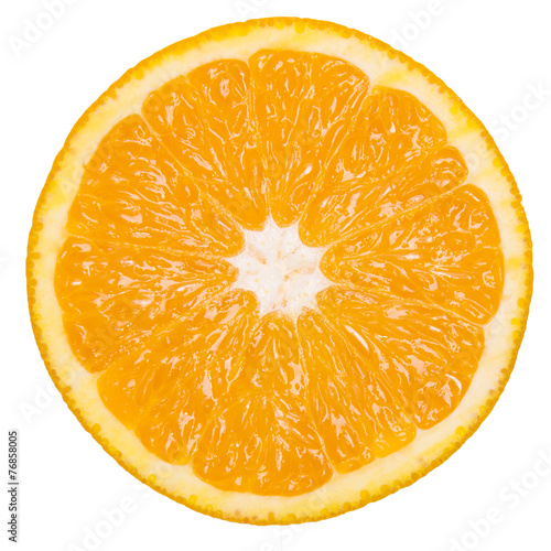 Foto op Aluminium Vruchten Slice of fresh orange on a white isolated