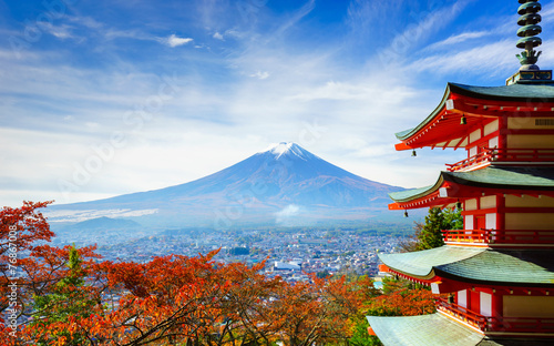 Spoed Foto op Canvas Japan Mt. Fuji with Chureito Pagoda, Fujiyoshida, Japan