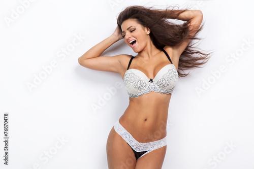 Fotografie, Obraz  Model posing in erotic lingerie.
