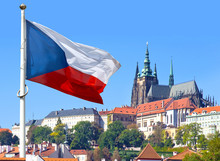 Flag, Prague Castle And Lesser Town, Prague, Czech Republic