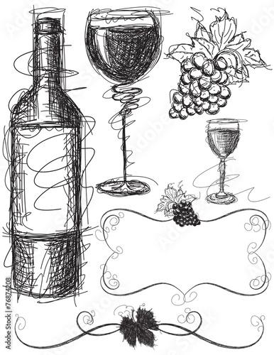 Wine Sketches Fototapete