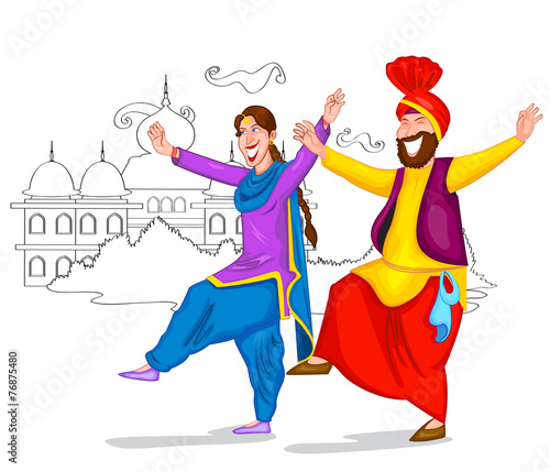 Canvas-taulu Dancing Punjabi couple