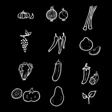 Fruits And Herbs Icons Set