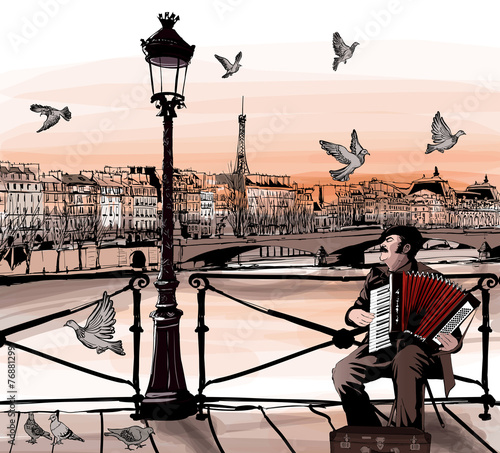 Fotografie, Tablou  Accordionist playing on Pont des arts in Paris