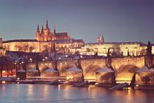 Famous Prague Panorama, Czech Republic Old Vintage Filter.