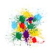 Colorful paint splashes isolated on white