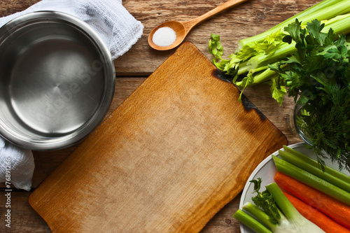 Poster Cuisine Ingredients for the vegetable broth on the wooden table