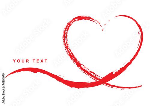 Photo  Grußkarte mit handgezeichnetem rotem Herz – Your Text