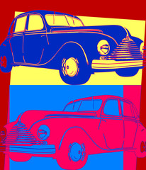 Panel Szklany Popart Voiture vintage pop