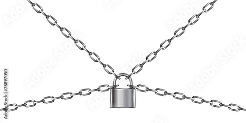 Metal chain and padlock, isolated on white Poster Mural XXL