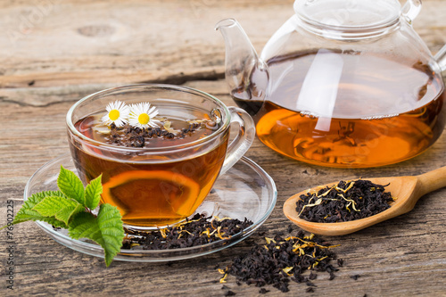 Recess Fitting Tea Tea composition with mint leaf on wooden palette