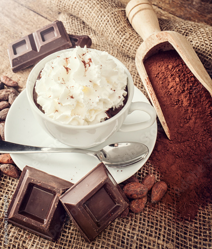 Foto op Canvas Chocolade Cup of hot chocolate with whipped cream