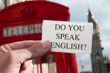 Fototapetado you speak english? in a signboard with the Big Ben in the bac