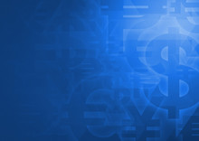 Currency Symbol On Bright Blue For Financial Background