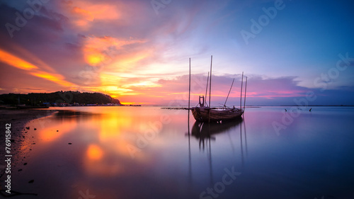 Canvas Prints Ship Broken ship with the sunset