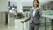 Asian Chinese Businesswoman Airport Travel Destination Smart Phone