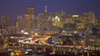 Time lapse San Francisco dusk illuminated commuter traffic elevated Highway, USA