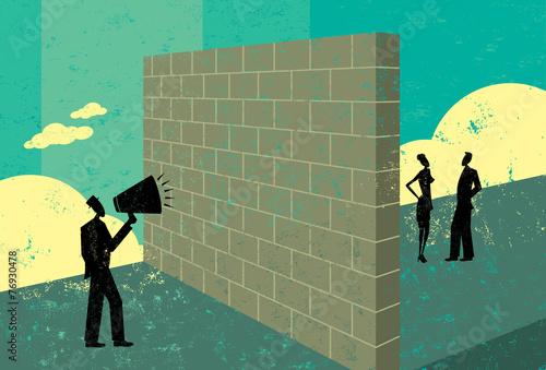 Photo Shouting at a brickwall