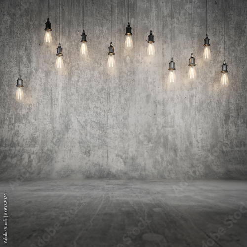 Mock up concrete wall and floor with background light
