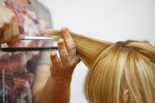 Fotografie, Obraz  Blue Hair Woman in salon for haircut