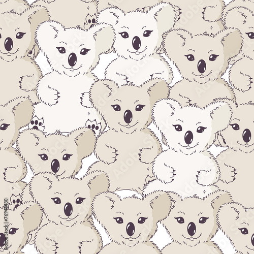 Many koalas seamless background