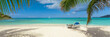 canvas print picture - Tropical white sand beach background, caribbean island, hot summer day on the beach