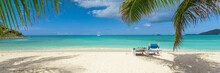 Tropical White Sand Beach Background, Caribbean Island, Hot Summer Day On The Beach
