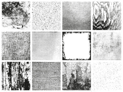 collection of 12 grungy vector patterns - various materials