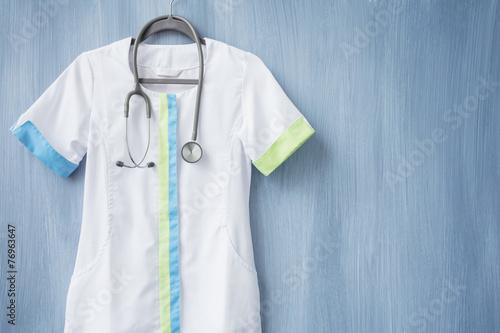 Fotomural Doctor uniform with stethoscope on hanger