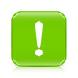 Light green exclamation sign button icon with reflection