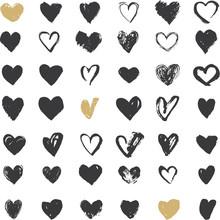 Heart Icons Set, Hand Drawn Io...