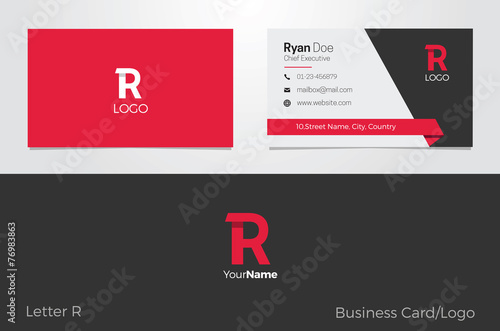 Photo  R Letter Logo Corporate Business card