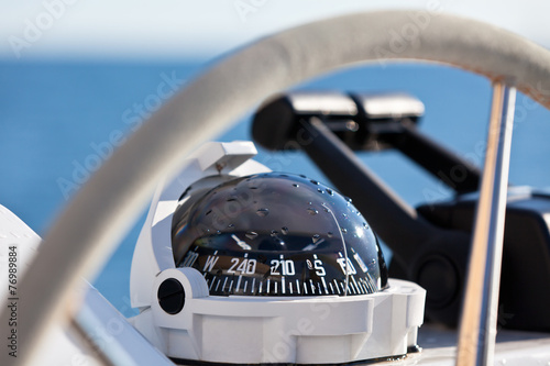Sailing yacht control wheel and implement Canvas Print