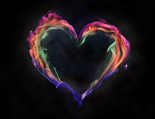 Colorful Flame Heart