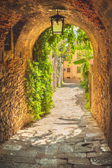 Panel Szklany Vintage Old streets of greenery a medieval Tuscan town.