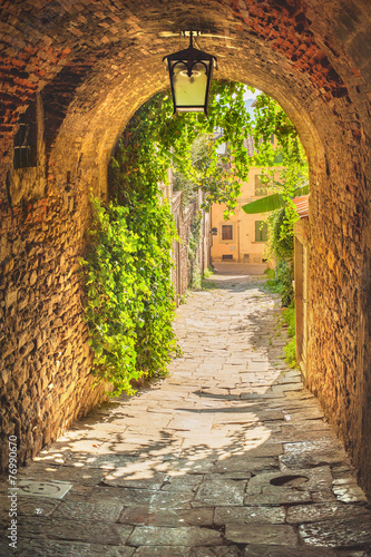 Old streets of greenery a medieval Tuscan town.