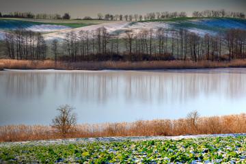 Panel Szklany Zima Zimowe Jezioro